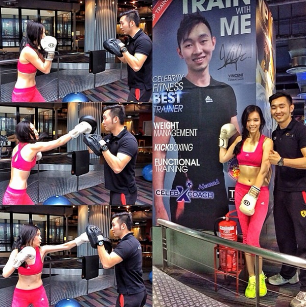 Kick-boxing!! Here I am training with Celebrity Fitness BEST trainer, okayyyy